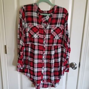 Torrid red plaid challis babydoll top